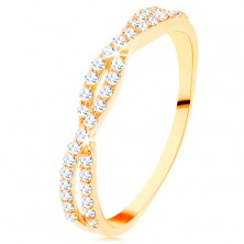 Prstan iz rumenega 14K zlata - prepleteni cirkonski vijugi, drobni prozorni cirkoni