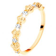 Prstan iz rumenega 14K zlata - izmenjujoče se vrtnice in okrogli prozorni cirkoni