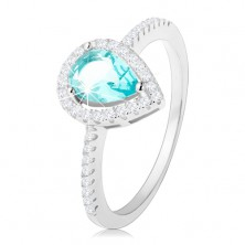 Prstan iz srebra 925, kaplja svetlo modre barve s prozornim cirkonskim robom