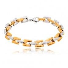 Jeklena zapestnica - sijoči členi H zlate in srebrne barve