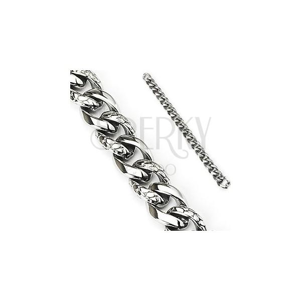 Jeklena zapestnica - debela verižica s kačjim vzorcem, srebrne barve