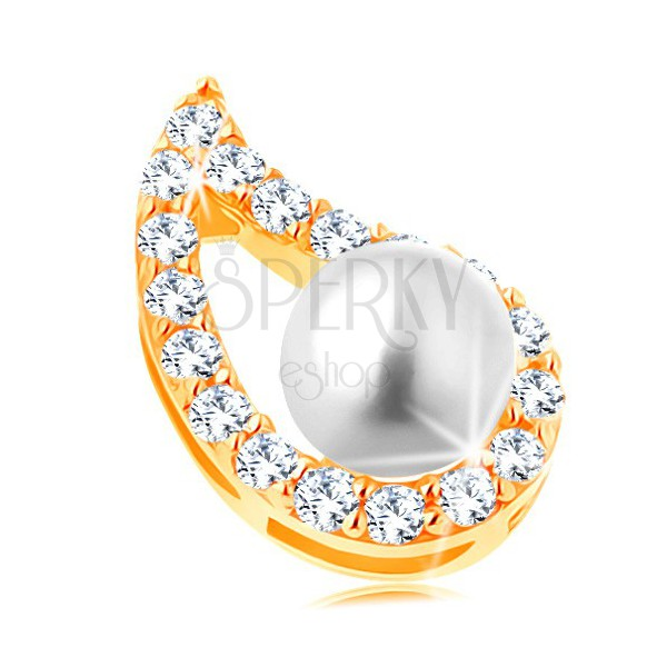 Obesek iz rumenega 14K zlata - nesimetričen obris kaplje, prozorni cirkoni, perla