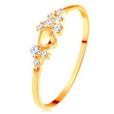 Prstan iz rumenega 14K zlata - drobni prozorni cirkoni in sijoče izbočeno srce