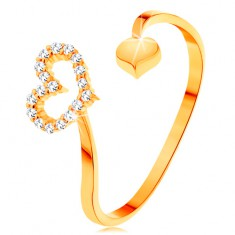 Prstan iz zlata 585 - ukrivljena kraka s konturo srca in polnim srcem na koncih
