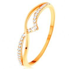 Prstan iz rumenega 14K zlata - gladka in lesketava vijuga iz prozornih cirkonov