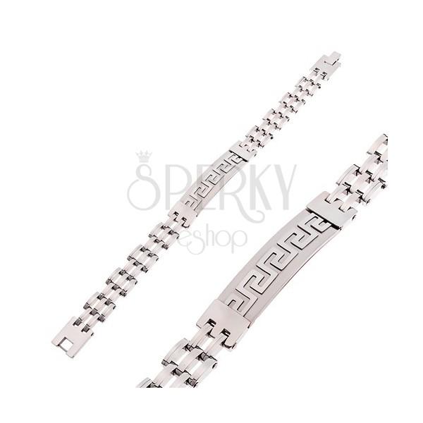 Zapestnica iz kirurškega jekla srebrne barve, mat ploščica z grškim ključem