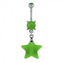 Uhan za popek v obliki zvezde - svetlo zelen naravni kamen