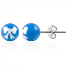 Uhani iz nerjavečega jekla - kroglasti perlici s pentljo