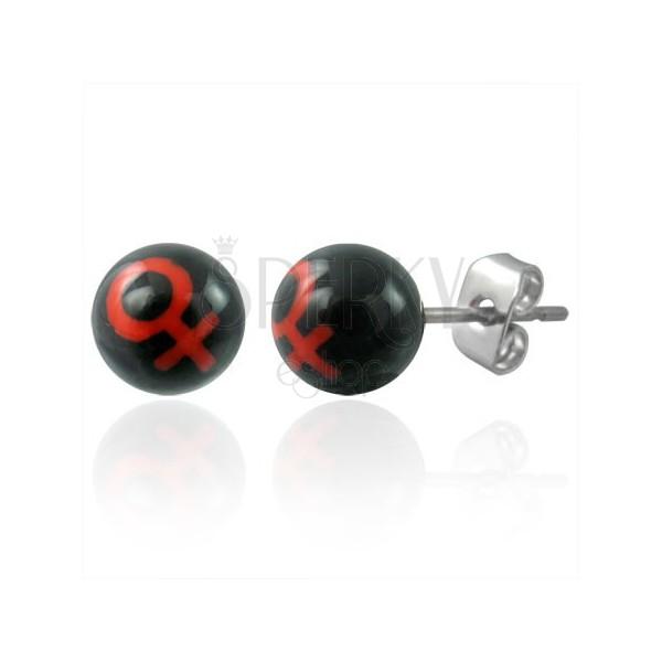 Drobni vtični uhani - kroglasti perlici s simbolom za žensko