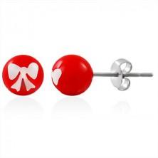 Jekleni uhani, rdeča kroglica z belo pentljo, metuljčki