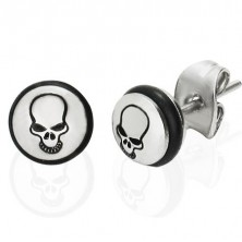 Jekleni uhani - krog s črno lobanjo in gumica