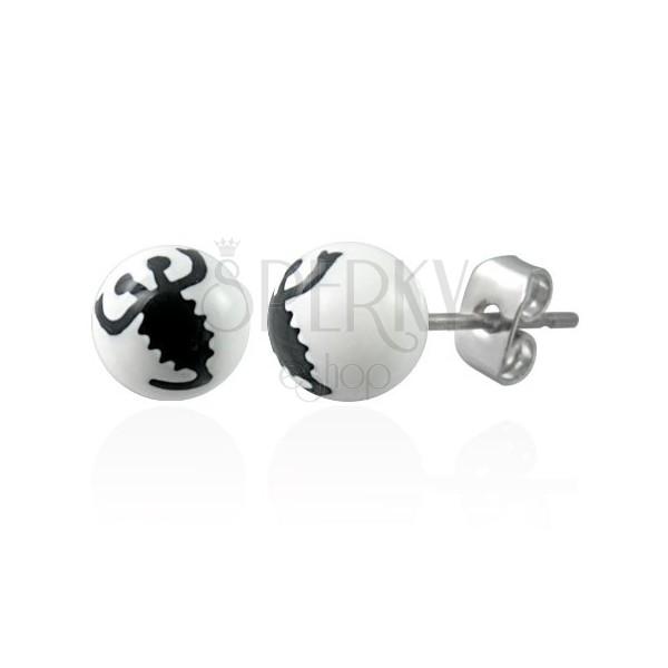 Beli vtični uhani - motiv črnega škorpijona