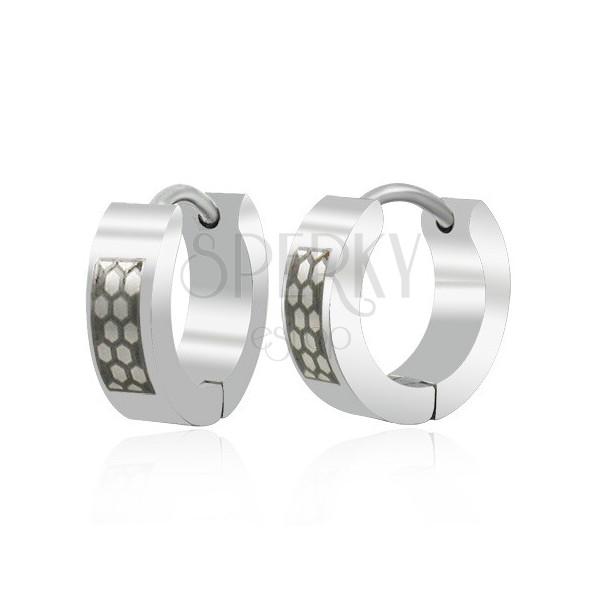 Črno srebrni jekleni uhani - satovje