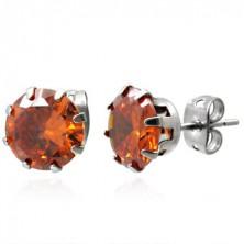 Jekleni vtični uhani z oranžnim kamnom, 8 mm