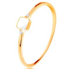 Prstan iz 14k zlata - bel, glaziran kvadrat, prozorni cirkoni