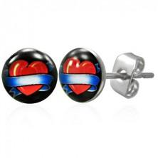 Jekleni uhani - srce z modrim trakom