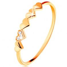 Prstan iz 14k zlata - majhna lesketajoča srca, prozorni cirkoni