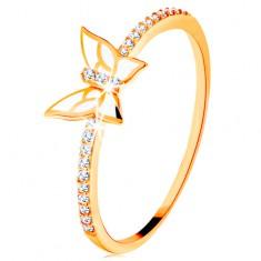 Prstan iz rumenega 14k zlata - lesketajoče linije, bel glaziran metulj