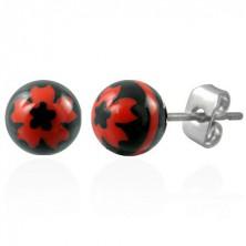 Jekleni uhani s črno kroglico - rdeča cvetlica