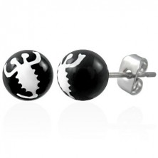 Črni jekleni uhani - bel škorpijon