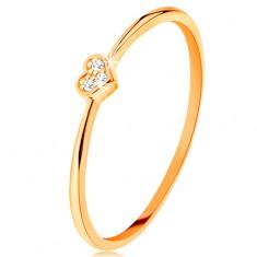 Prstan iz rumenega 14k zlata - srce, okrašeno z okroglimi prozornimi cirkoni