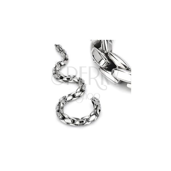 Zapestnica iz jekla 316 L srebrne barve, sijoča verižica iz oglatih členov