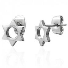Jekleni uhani srebrne barve - šesterokraka zvezda z okroglim izrezom