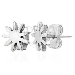Jekleni uhani srebrne barve - sijoč cvet, čepki