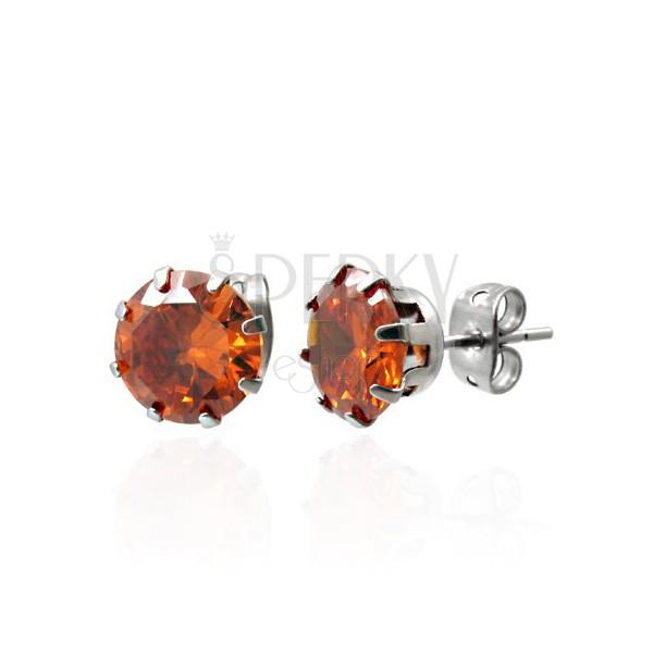 Jekleni uhani z oranžnim cirkonom - 7 mm