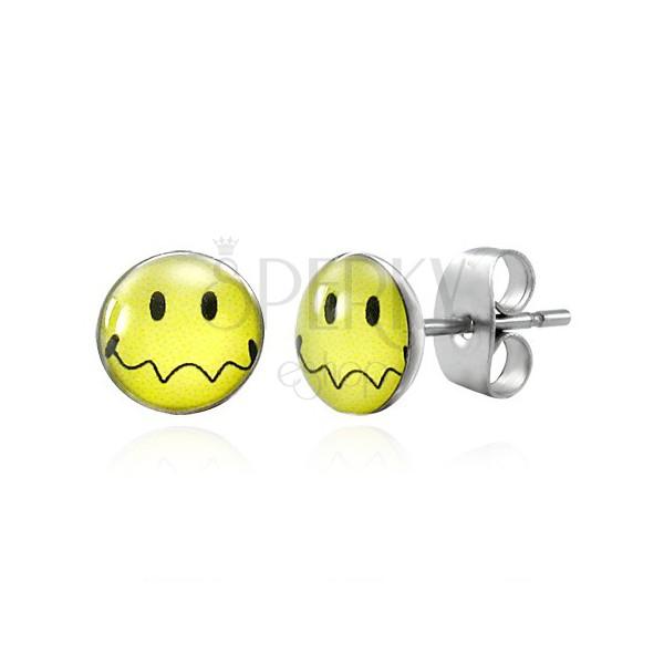 Uhani iz jekla - rumen smeško z valovitimi usti, čepki