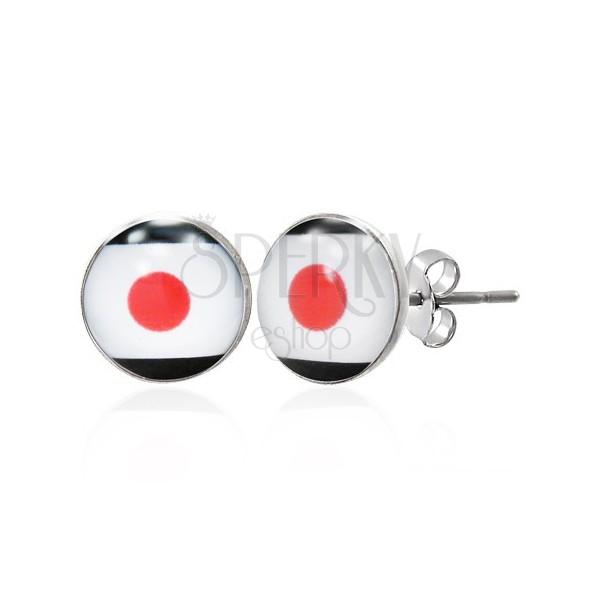 Vtični jekleni uhani - japonska zastava