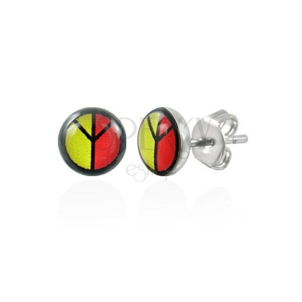 Barviti jekleni uhani - PEACE