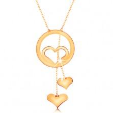 Ogrlica iz zlata 585 - obris srca v obroču in dve viseči srci na verižicah