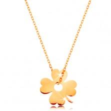 Ogrlica iz 14K zlata - sijoča tanka verižica, obesek - štirilistna deteljica za srečo