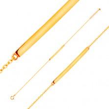 Zapestnica iz rumenega 14K zlata - sijoč ozek trak, verižica iz ovalnih členov