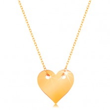Ogrlica iz rumenega 14K zlata - majhno simetrično ploščato srce, tanka verižica