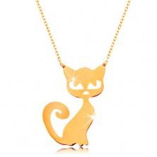 Ogrlica iz 14K zlata - ploščat obesek - mačka, tanka bleščeča verižica
