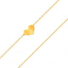 Zapestnica iz rumenega 14K zlata - majhno simetrično in ploščato srce, tanka verižica