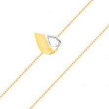Zapestnica iz 14K zlata - tanka verižica, dvobarvno ploščato srce z izrezanim delom