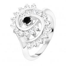 Prstan srebrne barve, velika spirala iz prozornih cirkonov s črno sredino