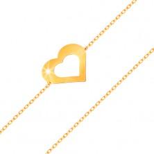 Zapestnica iz rumenega 14K zlata - tanka verižica, obris ploščatega srca, sijoča gladka površina