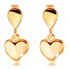 Uhani iz rumenega 14K zlata - majhna kaplja in viseče srce