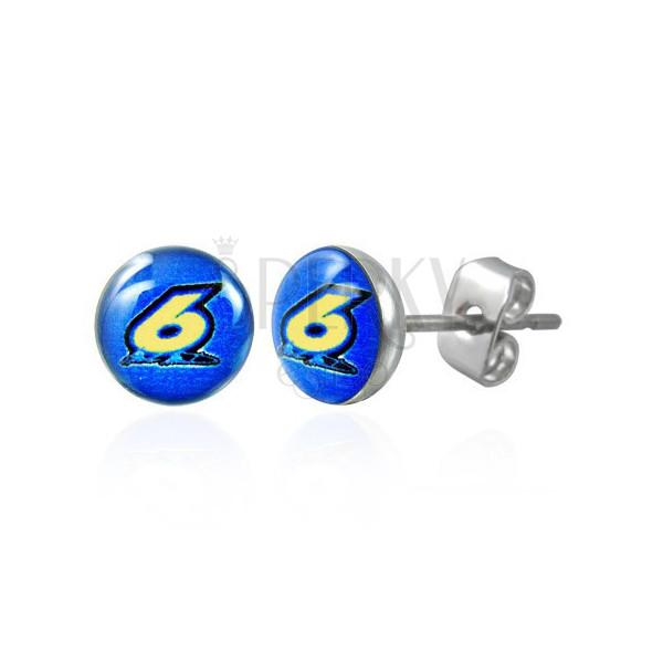 Okrogli, jekleni uhani - številka šest na modri podlagi, prozorna glazura, čepki