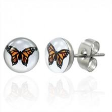 Jekleni uhani - oranžen metulj