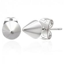 Jekleni uhani - srebrni stožci