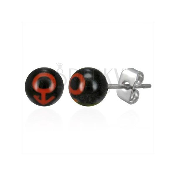 Vtični jekleni uhani v obliki kroglic - moški simbol