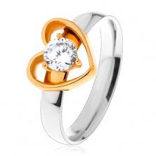 Jeklen prstan – dvobarven, ozek obris srca, okrogel prozoren cirkon