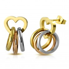 Jekleni uhani, tribarvni obročki na sijočem obrisu srca, čepki