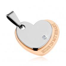 Obesek iz jekla 316 L, srce srebrne in bakrene barve, cirkon, napis