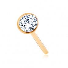 Piercing za nos iz 14-k zlata – bleščeč prozoren cirkon v sijoči objemki, 2 mm